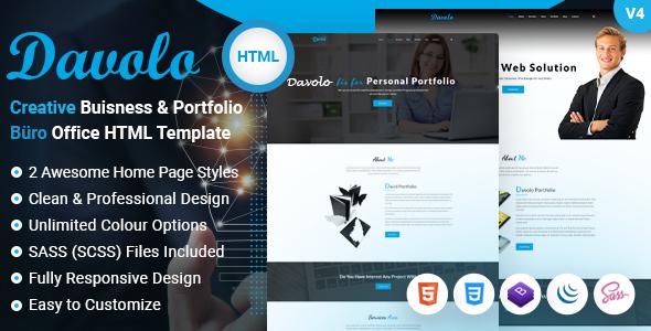 Davolo - Corporate Business & Creative Personal Portfolio HTML Template