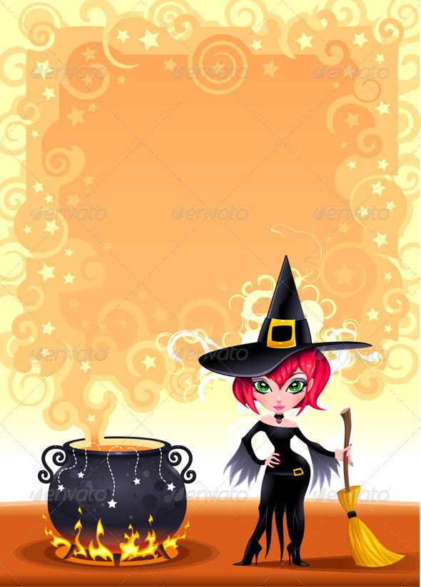 Funny witch with pot. - Halloween Seasons/Holidays