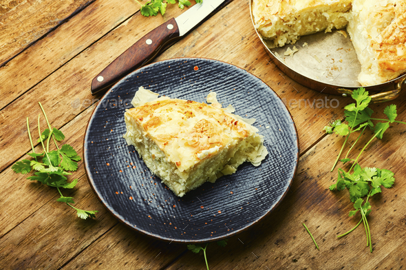 Homemade pie with cheese and cottage cheese - Stock Photo - Images