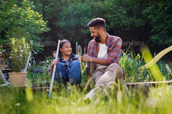 Happy young father with small daughter working outdoors in backyard, gardening concept - Stock Photo - Images