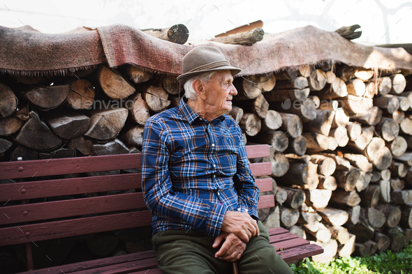 Portrait of elderly man sitting on bench outdoors in garden, resting - Stock Photo - Images
