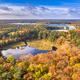 Aerial view of lakes in autumnal forest - PhotoDune Item for Sale