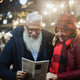 Senior couple having fun in london market at evening time - Focus on faces - PhotoDune Item for Sale