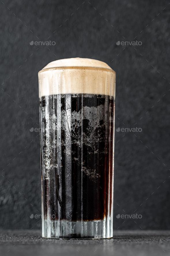 Glass of black velvet cocktail - Stock Photo - Images