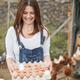 Senior farmer woman picking up organic eggs in henhouse - Focus on face - PhotoDune Item for Sale