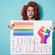 Drag queen holding lgbt banner - focus on face - PhotoDune Item for Sale