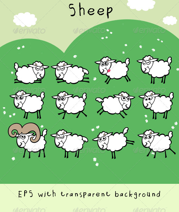 Sheep; Cute and Funny Flock with Ram - Animals Characters