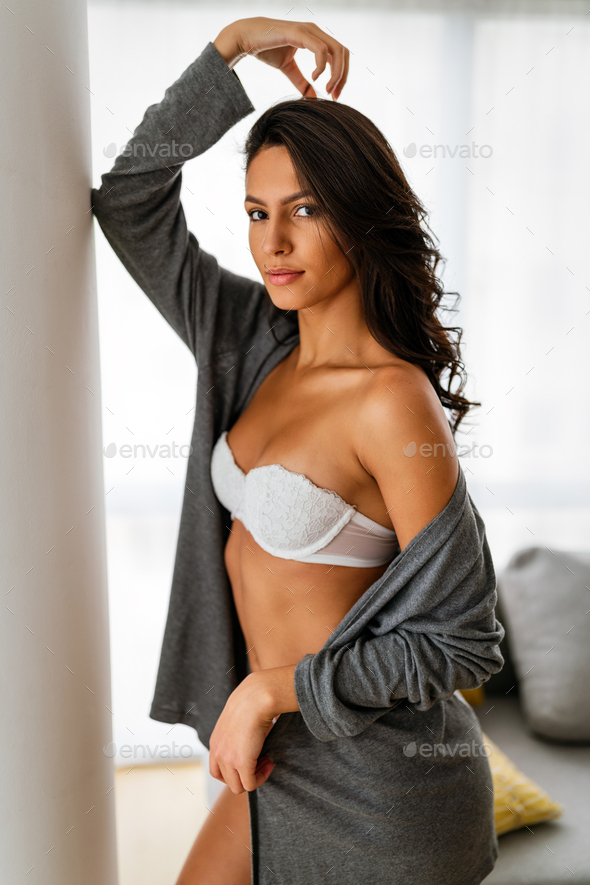 Beautiful alluring erotic woman in sexy lingerie - Stock Photo - Images