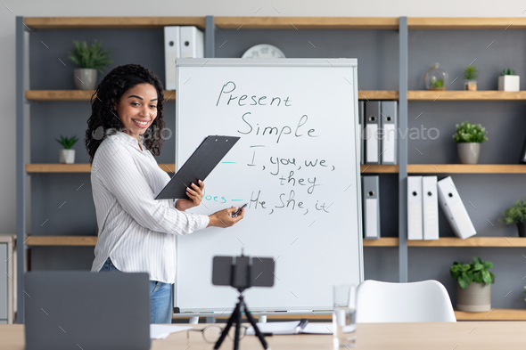 Modern education, study, social distancing, blog and devices for lesson at home - Stock Photo - Images