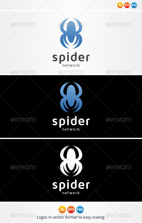 Blue Spider Logo - Animals Logo Templates
