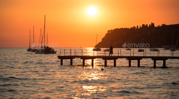 Sunset at the sea - Stock Photo - Images