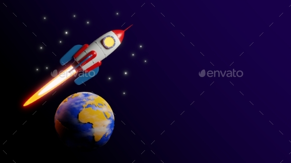 Rocket Fly Over the Earth  3d
