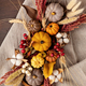 Rustic mockup with autumn table decoration. Floral interior decor for fall holidays - PhotoDune Item for Sale