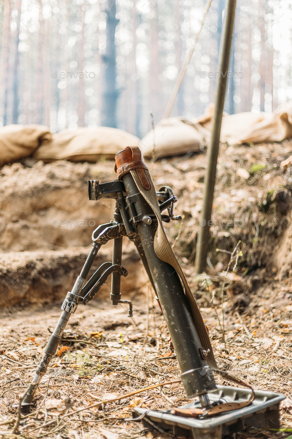 German mine-thrower mortar of times of the second world war. Wehrmacht weapon. World War II WWII - Stock Photo - Images