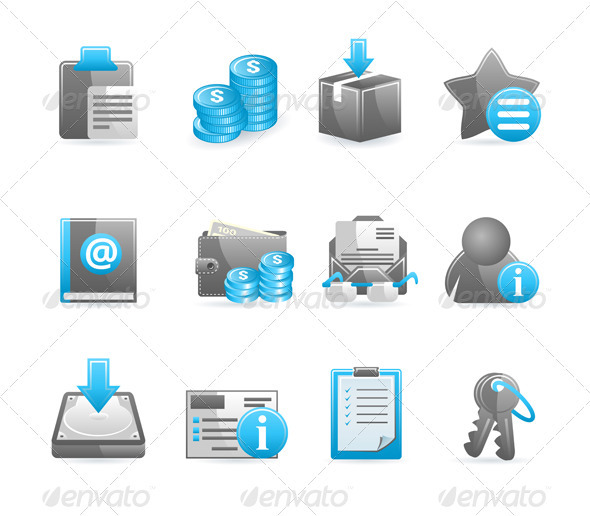 Blue glossy icon set - Web Elements Vectors