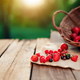 Overturned basket with various berries on a wooden terrace in the morning sun - PhotoDune Item for Sale