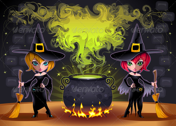 Funny witches with pot.  - Halloween Seasons/Holidays