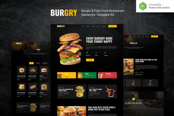 Burgry – Burger & Fast Food Restaurant Elementor Template Kit