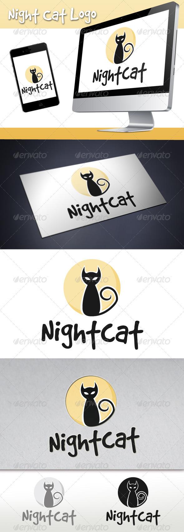 Night Cat Logo - Animals Logo Templates