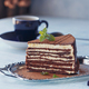 Slice of delicious chocolate cake on silver plate - PhotoDune Item for Sale