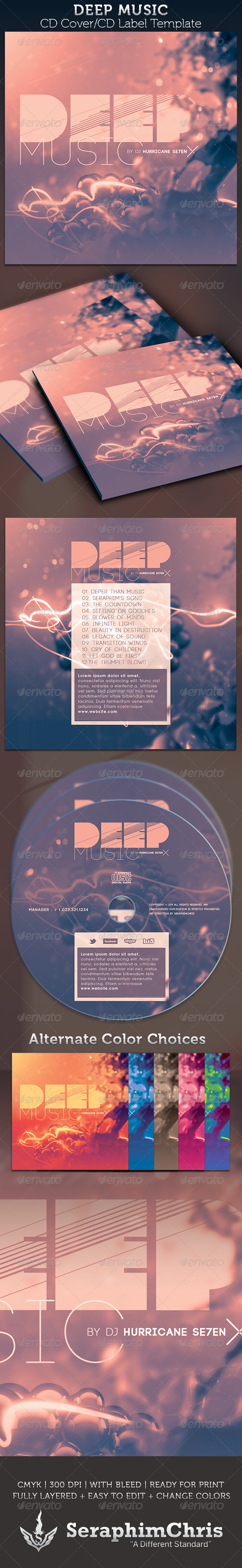 Deep Music: CD Cover Artwork Template - CD & DVD Artwork Print Templates