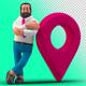 Businessman 3D with Geotarget Point Navigation on Transparent Background