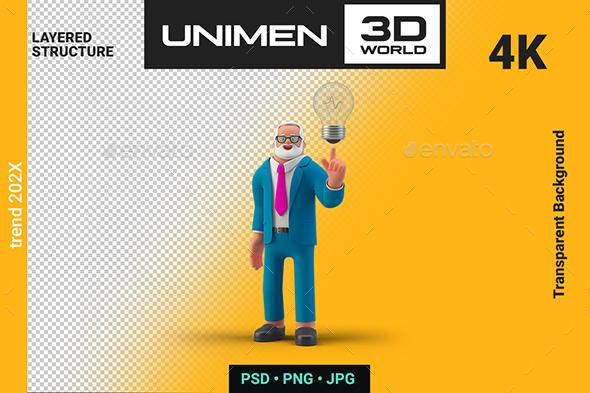 Businessman Holding Lamp Got an Idea 3D Illustration on Transparent Background