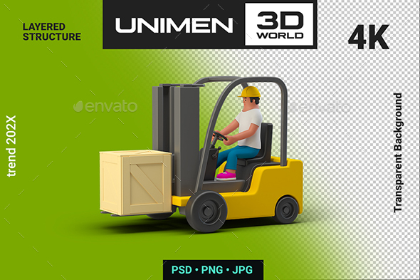 3D Man Worker in Loader with Box Container on Transparent Background
