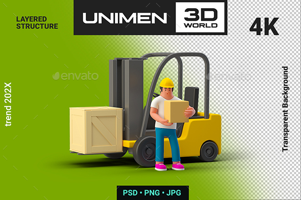 3D Man Worker near Loader with Box Container on Transparent Background