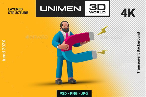 Businessman 3D holding Magnet on Transparent Background Illustration