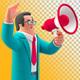 Businessman Talking Megaphone Marketing Promo 3D illustration on Transparent Background