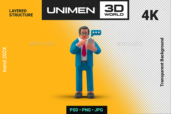 Businessman Typing Message with Smartphone 3D Illustration on Transparent Background