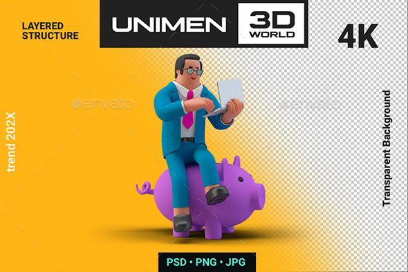 Businessman Sitting on Piggy Bank 3D Illustration on Transparent Background