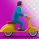 3D Man Businessman Rides Scooter illustration concept on Transparent Background