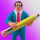 Businessman Holding Pencil 3D illustration on Transparent Background