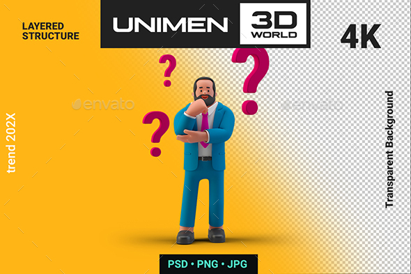 Businessman Standing Thinking Ask Question Marks 3D Illustration on Transparent Background