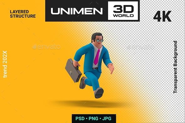 Businessman 3D Running with Briefcase illustration on Transparent Background