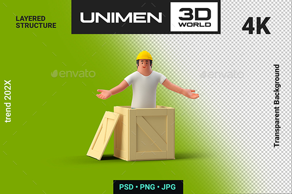 3D Man Worker in Helmet with Box Container on Transparent Background