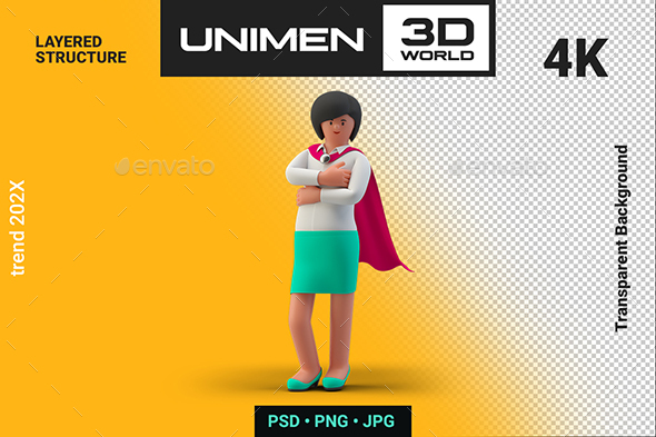 Super Woman Hero in Cloak Businesswoman 3D Standing in Successful Pose on Transparent Background