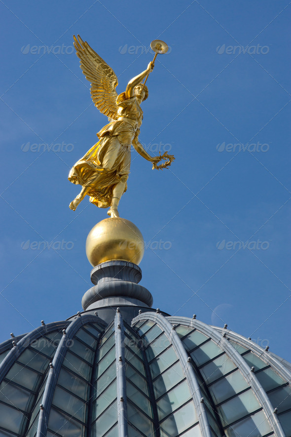 Gold angel in Dresden - Stock Photo - Images