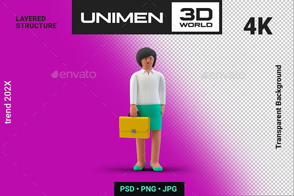 Happy Businesswoman Standing with Briefcase 3D Illustration on Transparent Background