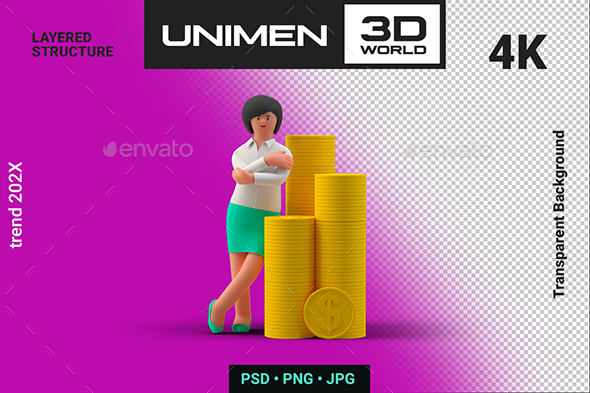 Happy Businesswoman Standing with Stacks of Coins 3D Illustration on Transparent Background