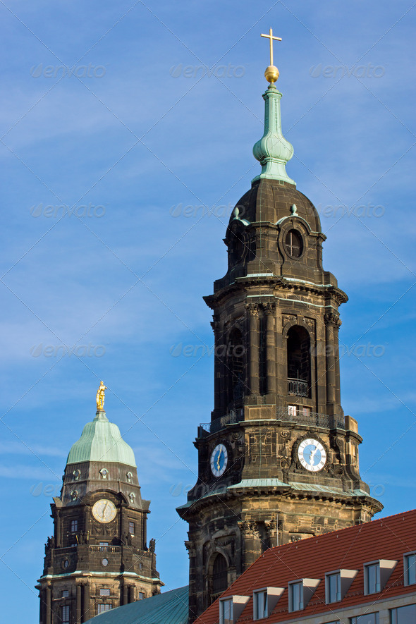 Towers of Kreuzkirche and Townhall - Stock Photo - Images