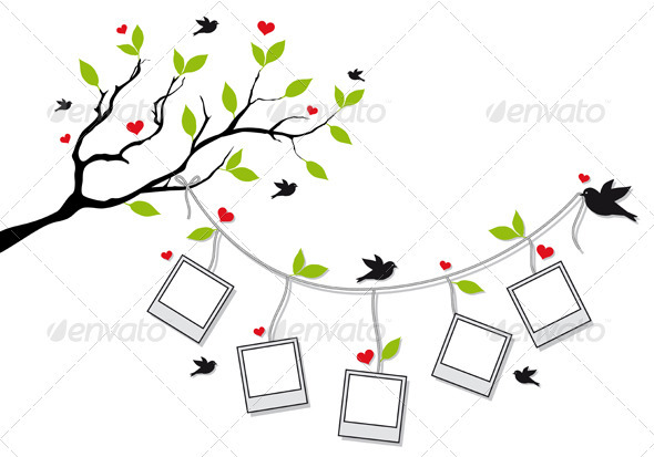 Tree With Photo Frames And Birds - Miscellaneous Conceptual