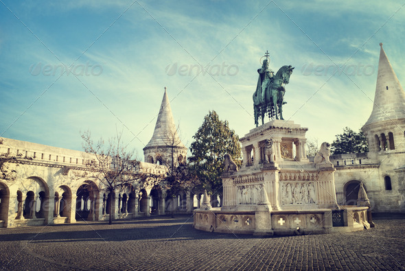 Statue of St. Stephen in Budapest - Stock Photo - Images