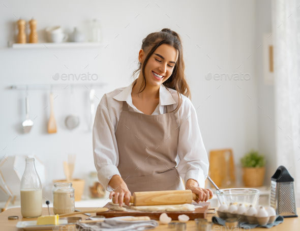 woman is preparing bakery - Stock Photo - Images