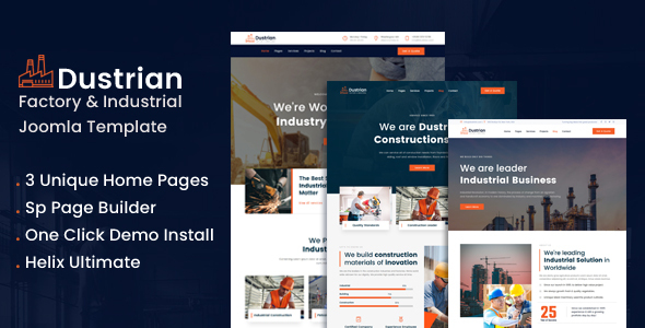 Dustrian - Factory & Industrial Joomla Template With Page Bulder