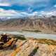 View of Spiti valley Himalayas with stone cairn . Spiti valley, Himachal Pradesh, India - PhotoDune Item for Sale