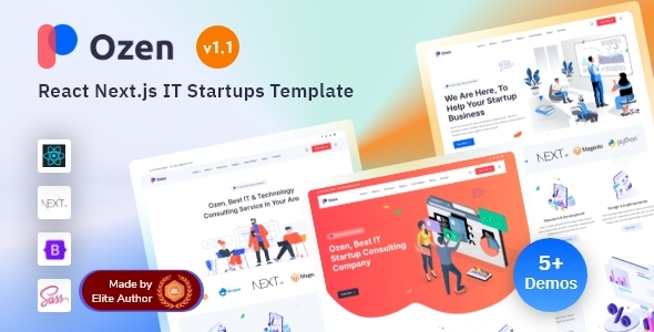 Exceptional React Next IT Startup & Software Solutions Template - Ozen