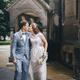 Beautiful emotional wedding couple kissing and walking in european city. Provence wedding - PhotoDune Item for Sale